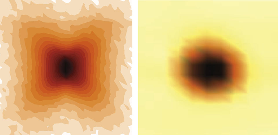 two images. Left has a dark center with a butterfly like pattern in different shades of orange around it. Right image: dark round center with orange ring and then yellow