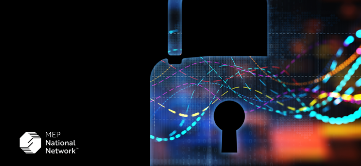cybersecurity with a digital lock