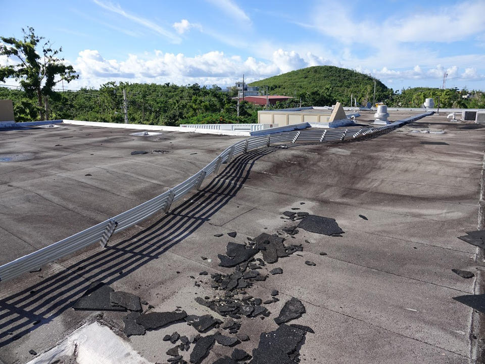 Damaged cable tray on hospital roof in Vieques, Puerto Rico
