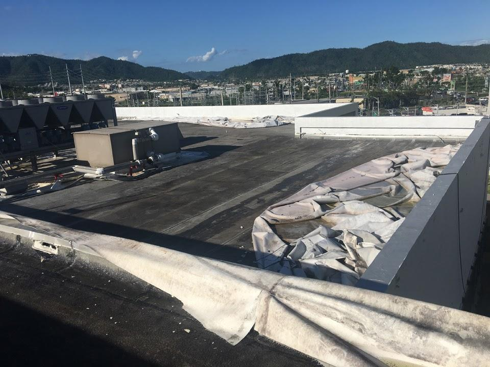 Single-ply membrane failed on roof of Caguas Municipal Building