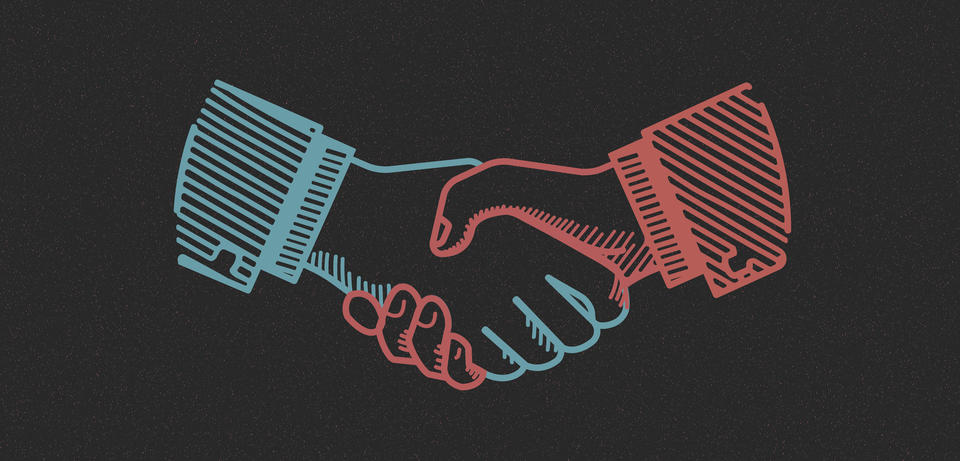 An illustration drawn in red and blue outline of two hands doing a handshake.