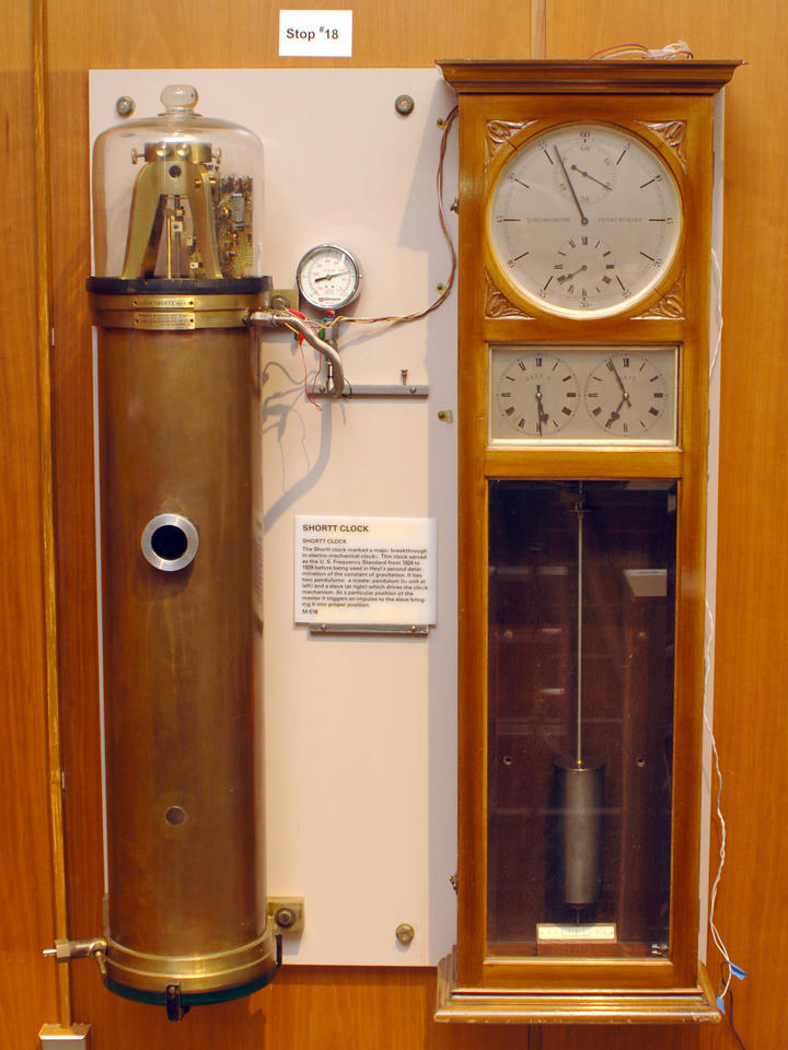 A Shortt Electro-Mechanical Clock in a case