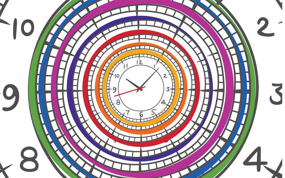 Artistic illustration of analog clocks, with multiple clocks concentric with one another