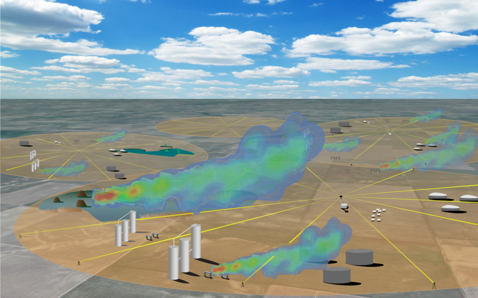 A gas field with gas leak detection systems arrayed in circles with the path of appearing as spokes. Several billowing gas leak clouds can be seen.