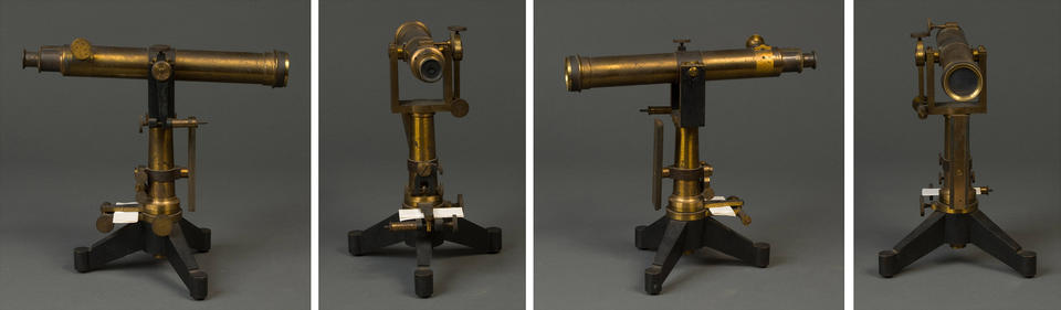 a black metal and brass telescope