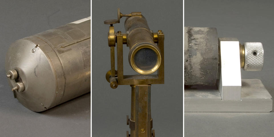 from left to right, a a metal cylinder, a telescope, and a device with rubber bushings on a spindle