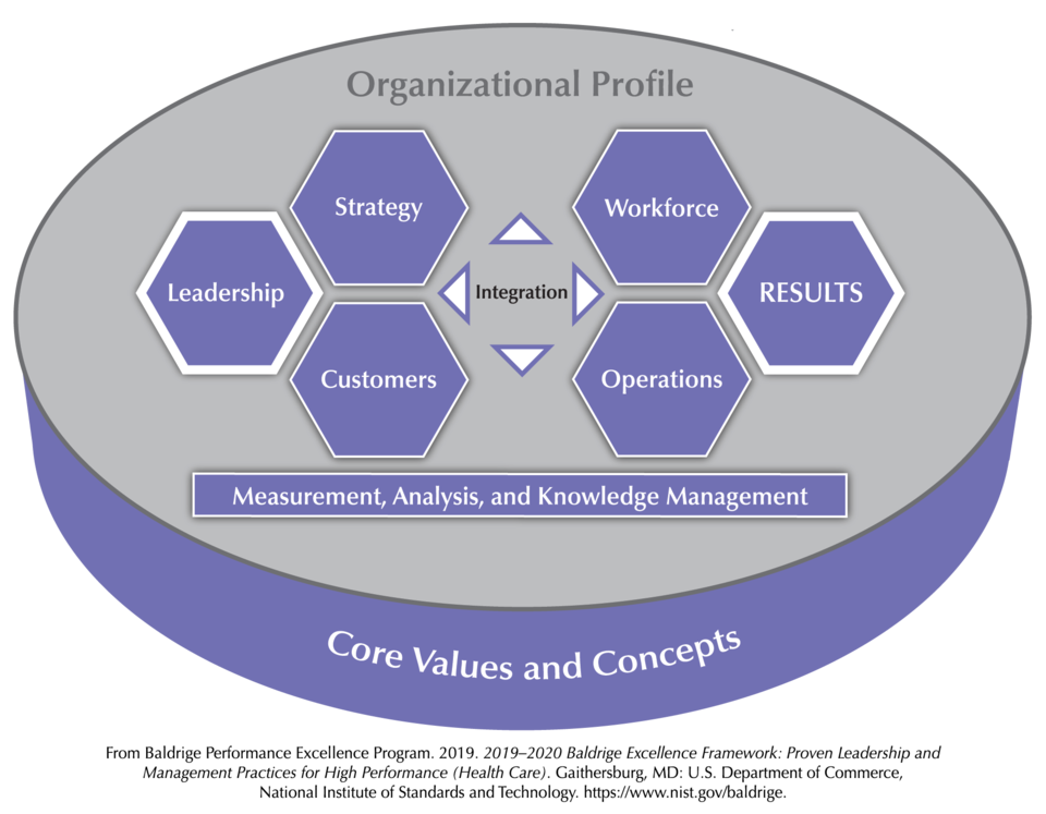 The Baldrige Health Care Criteria for Performance Excellence Overview consists of the six categories (Organizational Profile, Leadership, Strategy, Customers, Measurement, Analysis, and Knowledge Management, Workforce, Operations, and Results).
