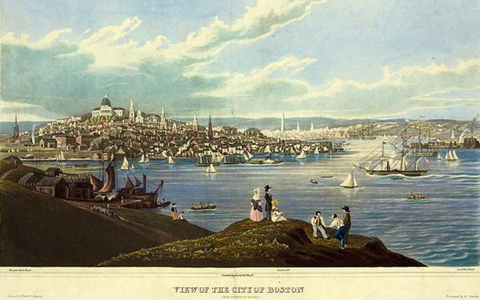 Painting of the view of the Colonial City of Boston with people looking out at the harbor showing boats and the city in the background.