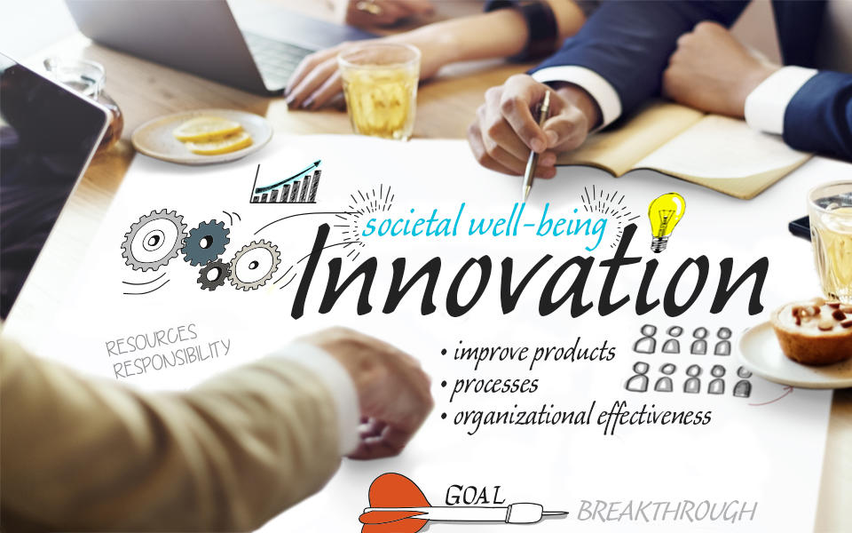 People at a table pointing to societal well-being to include in the definition of Innovation (improve products, processes, organizational effectiveness).