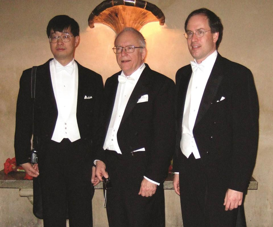 Fellows Jun Ye, Jan Hall and Steven Cundiff at the 2005 Nobel reception.
