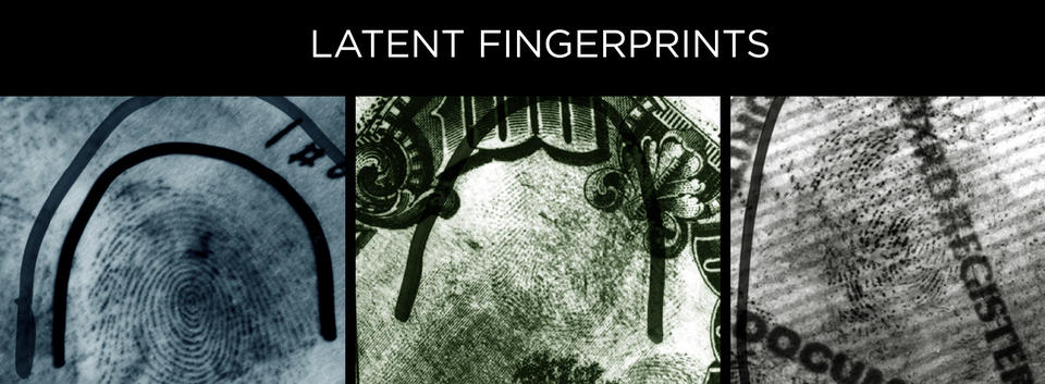 2 black and white photos of fingerprints with photo of fingerprint on $100 bill