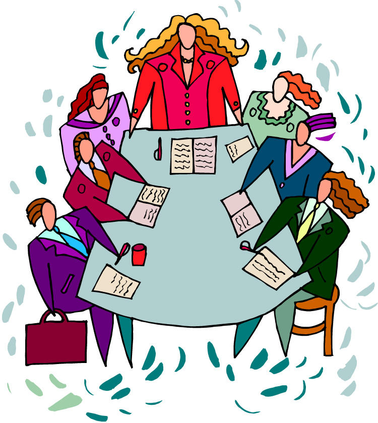 cartoon illustration of people at boardroom table