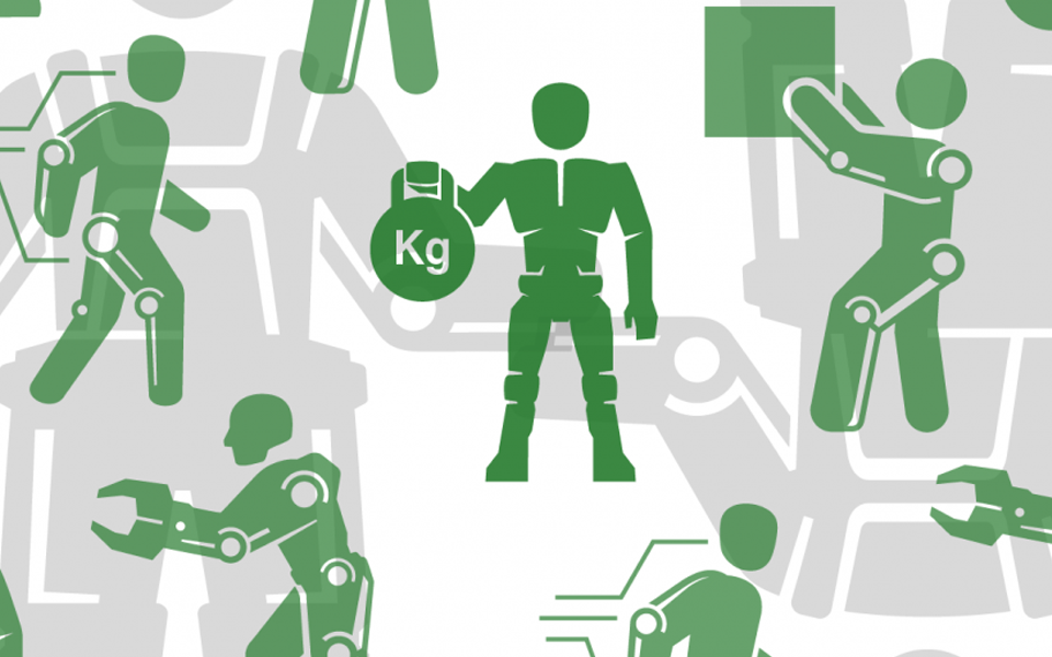 Diagram of green and gray human-shaped mechanical figures