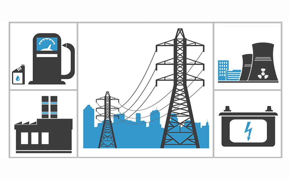 graphic illustrating different aspects of critical infrastructure, including power transmission, nuclear plants, and factories