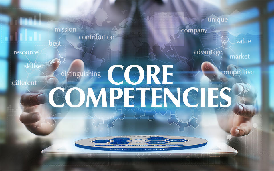 Photo showing a man with his hands around the words Core Competencies which is floating over a laptop with the Baldrige Framework Overview image.