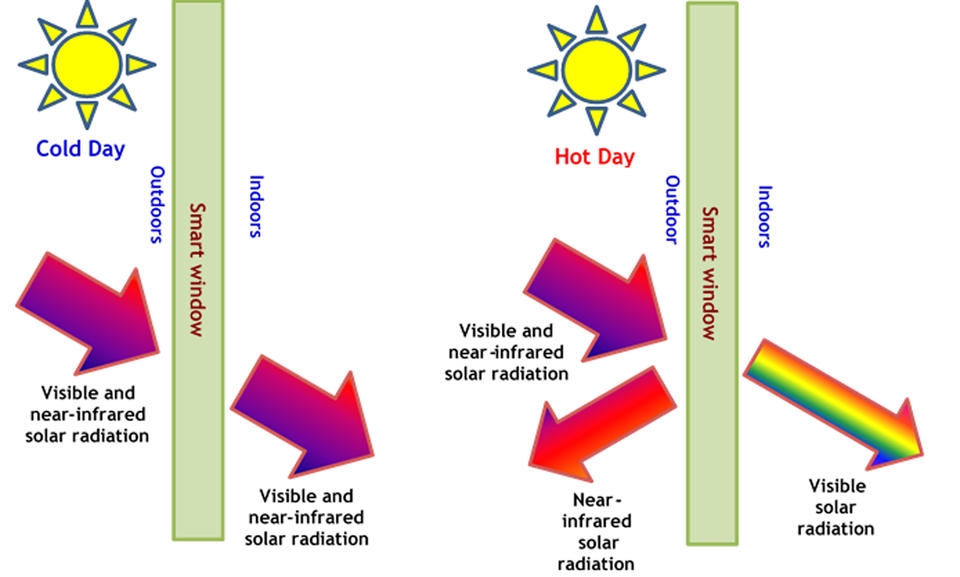 """Infographic with sections labeled """"Hot Day"""" and """"Cold Day"""""""