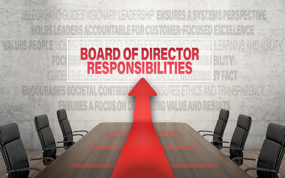 An empty board room and chairs showing the core values and concepts in the background with the Board of Director Responsibilities highlighted.