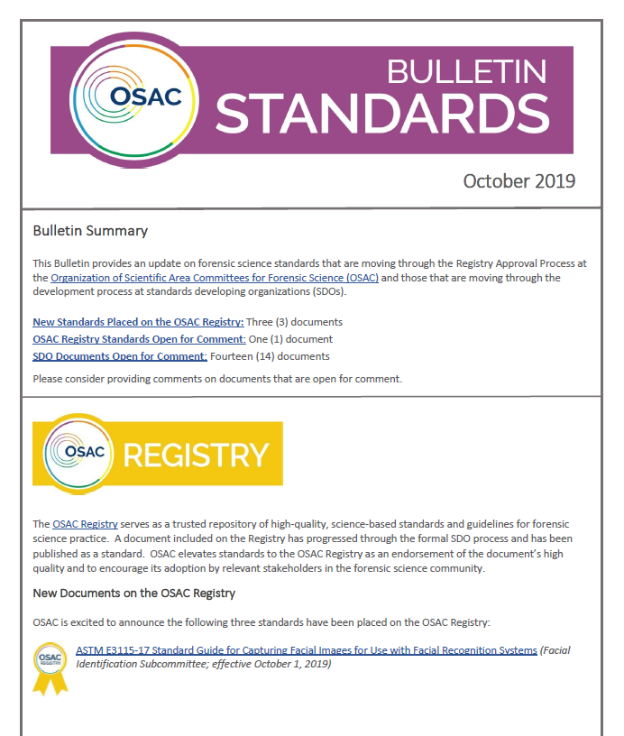 Cover of OSAC Standards Bulletin October 2019