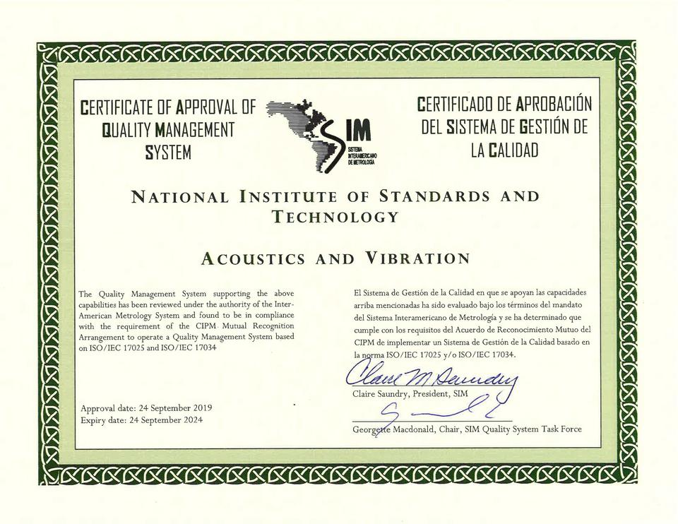 Acoustics and Vibration Quality System Certificate