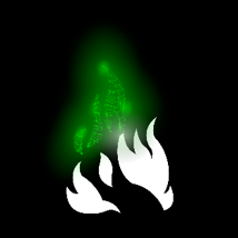 Shows a white flame with a green glow above, ENGR Dynamic's Logo