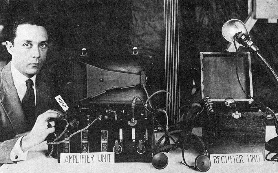 Percival Lowell with his radio receiver and amplifier set
