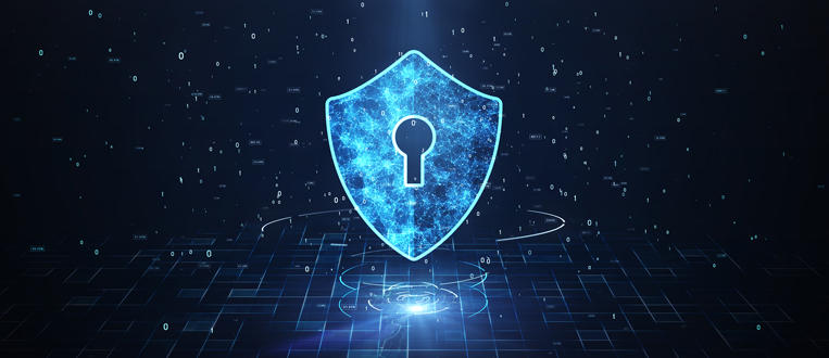 cybersecurity lock with a technology background