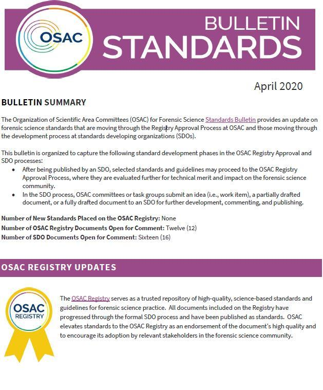 Cover of OSAC's April 2020 Standards Bulletin