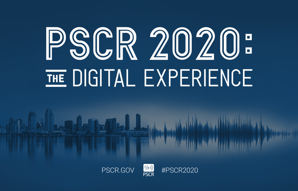 Hero image for PSCR 2020: The Digital Experience. Image includes typography and a city landscape / sound wave graphic.