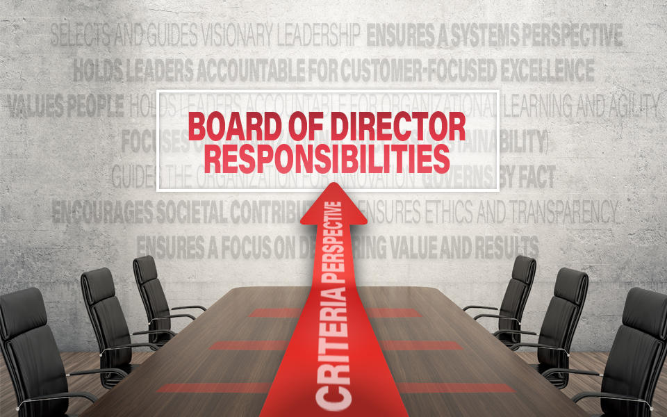 An empty board room and chairs showing the core values and concepts in the background with an arrow that says Criteria Perspective pointing to the Board of Director Responsibilities.