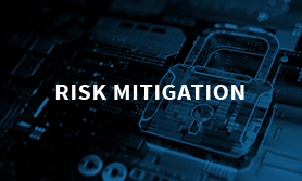 risk mitigation with a cyber lock on a computer chip in the background