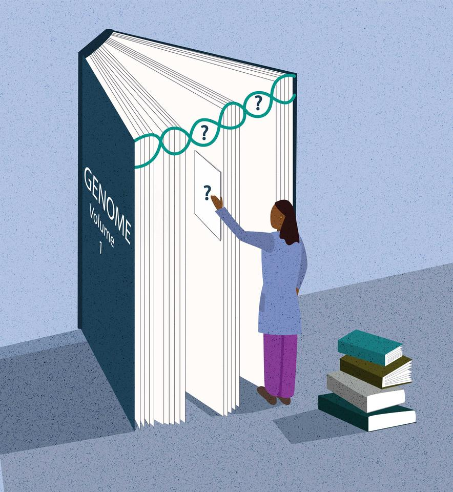 A scientist stands in front of a book, which represents the human genome, and tries to identify the missing pieces or chapters.