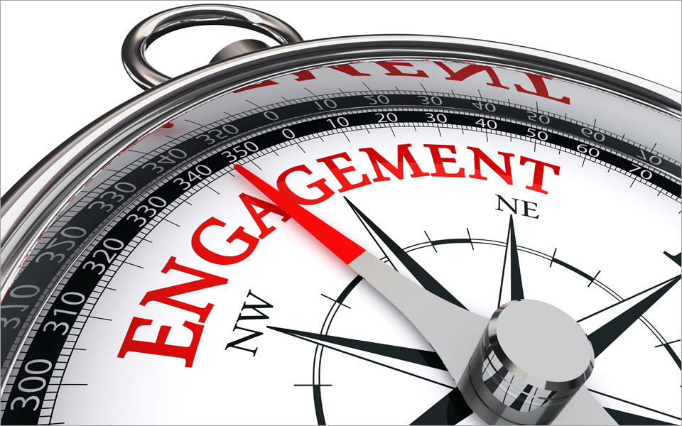 Engagement red word on compass