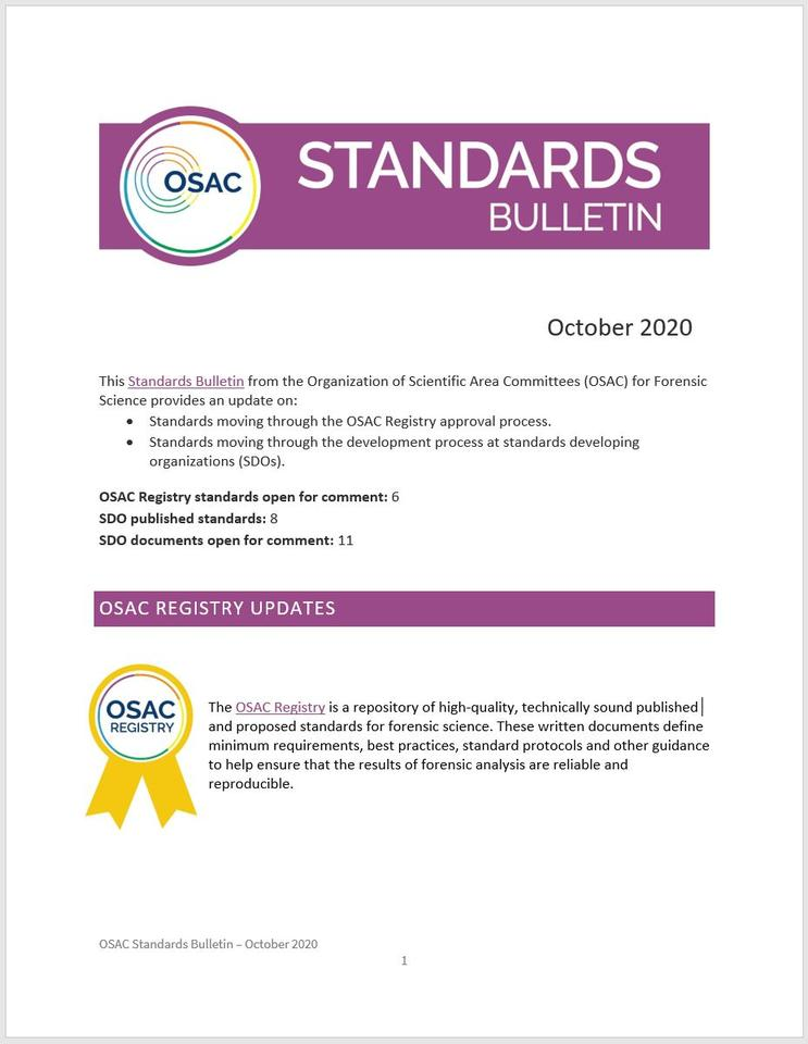 Cover page of OSAC's October 2020 Standards Bulletin
