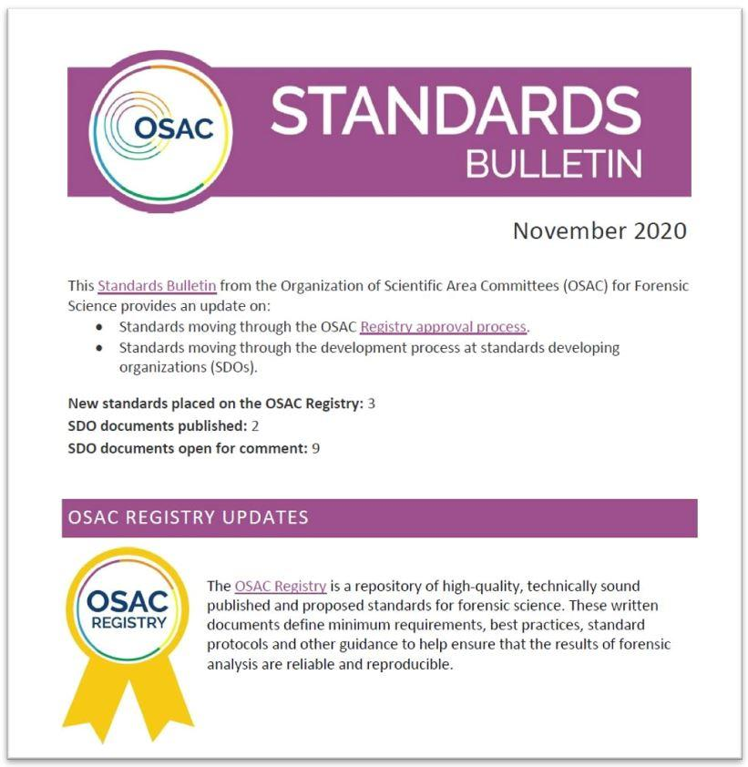 Cover of the November 2020 OSAC Standards Bulletin