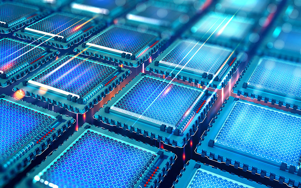 artist's concept of the inside of a quantum computer. A grid of blue computer chips with beams of light moving between them.