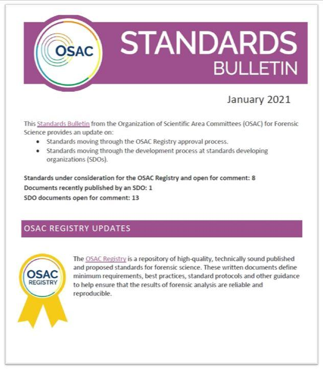 Cover of OSAC's January 2021 Standards Bulletin