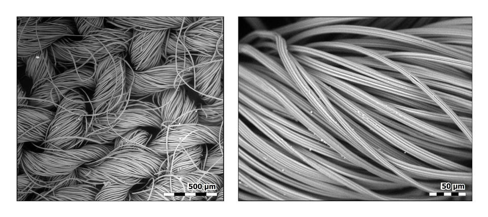 Two images: woven rayon fibers on left, close-up of one rayon fiber on right. vvvv