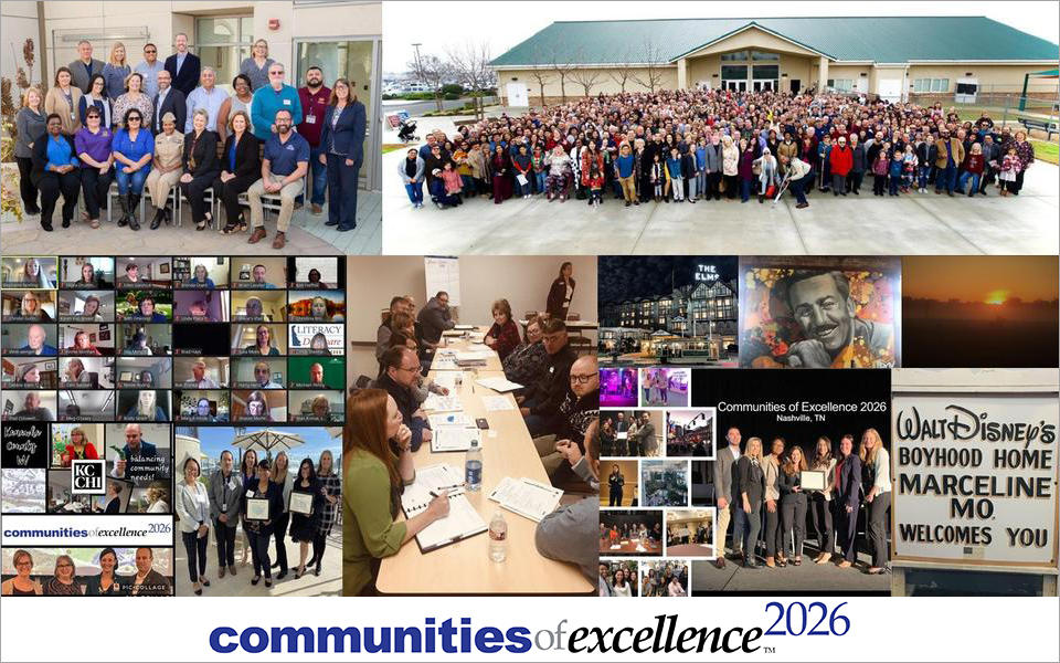 Collage of photos depicting groups of people posing together at various COE 2026 events.