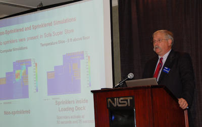 Nelson Bryner, lead for the NIST Charleston Sofa Super Store Fire Study, briefs the media in Charleston, S.C., about the release of the study draft report.
