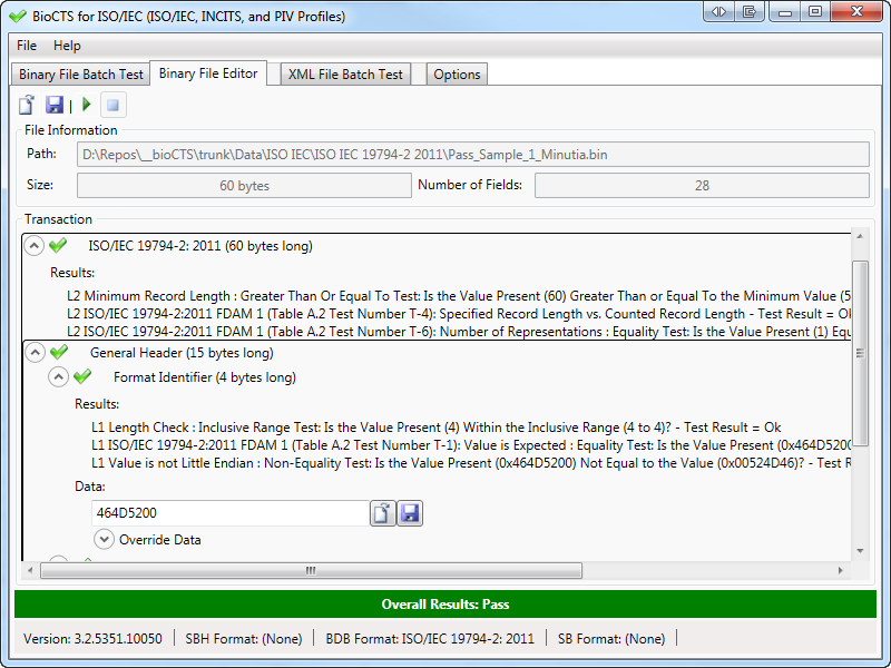 Screen Shot: Editor: Format Identifier expanded to show results and data