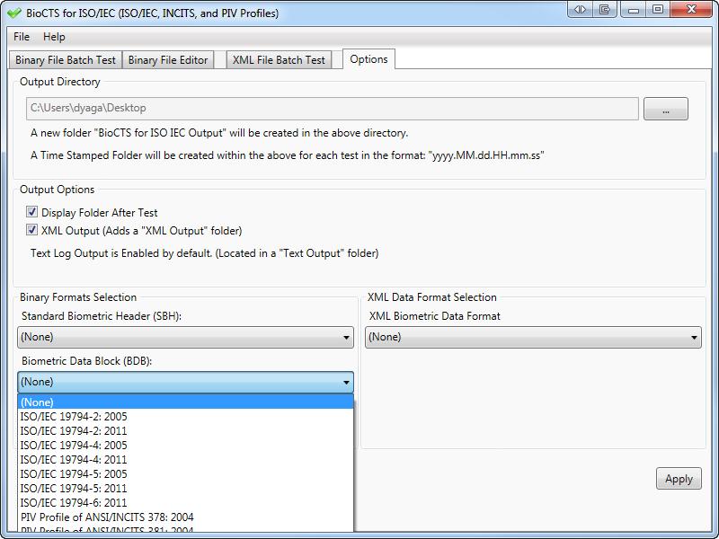 Screen Shot: Options: Selection of the Biometric Data Block format