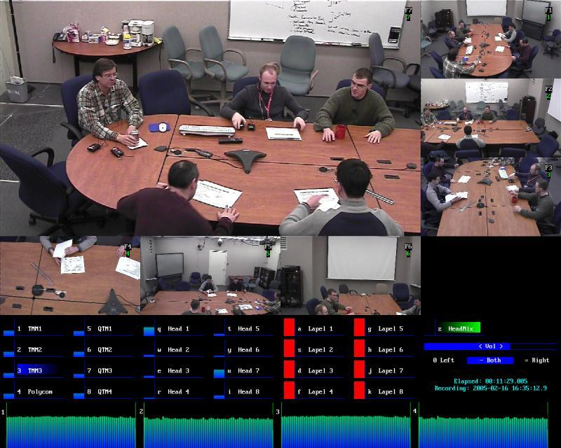 Figure 1. The NIST Meeting Room Data Collection Laboratory in operation. The review station shows seven views; six in thumb-nail, and one at center. Level meters for the twenty-four random placement microphones and four microphone arrays are at bottom.
