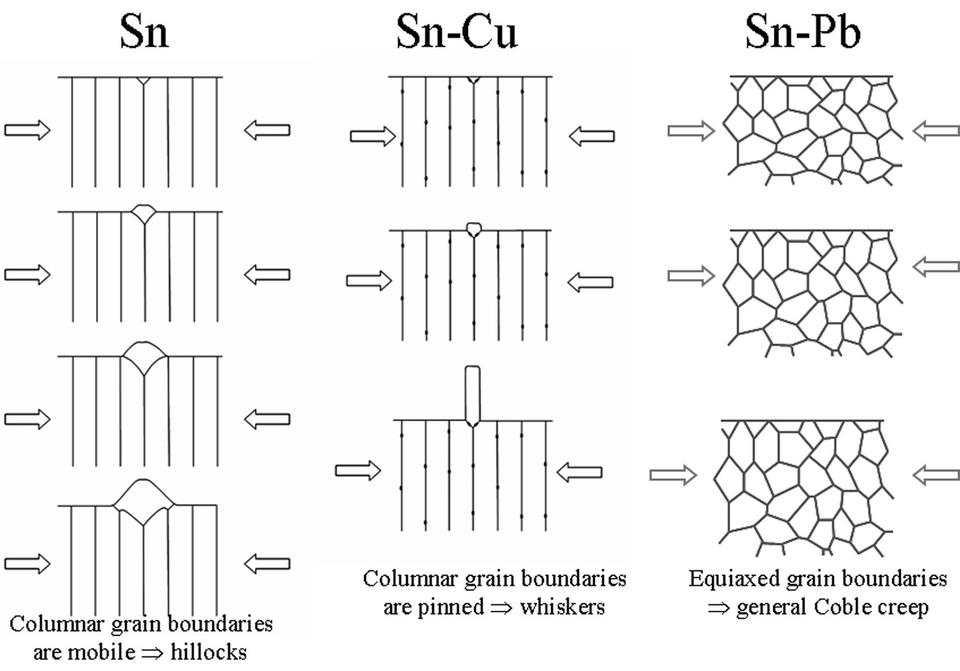 Effect of grain shape and mobility on whisker and hillock formation