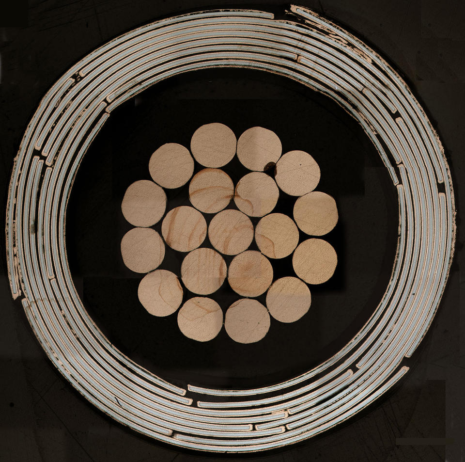 Cross-section of a high-temperature superconducting cable design invented at NIST.