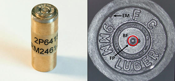 Figure 2. On the left, a NIST SRM 2461 Cartridge Case mounted on a brass cylinder holder; right, optical micrograph showing the three certified areas of the SRM, breech face impression (BF), firing pin impression (FP), and ejector mark (EM).