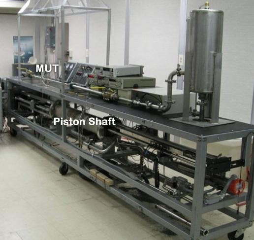 Photo of the 20-Liter prover and a meter under test (MUT)