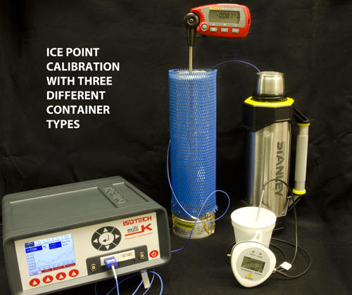 Ice point calibration with three different container types.