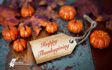 Happy Thanksgiving message showing pumpkins in a rustic background.