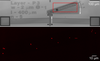 (Top) Image showing the microelectromechanical linkage that converts translation (straight arrow) into rotation (curved arrow). (Bottom) Image showing the fluorescent nanoparticles on the rotating part of the linkage.