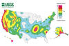 National seismic hazards maps display earthquake ground motions for various probability levels across the United States.